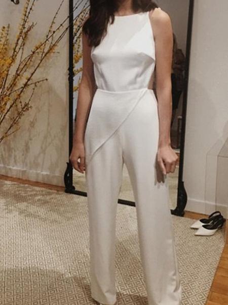 Jumpsuits Wedding Dresses Jewel Neck Floor Length Satin Sleeveless Simple Sexy Backless Modern_1