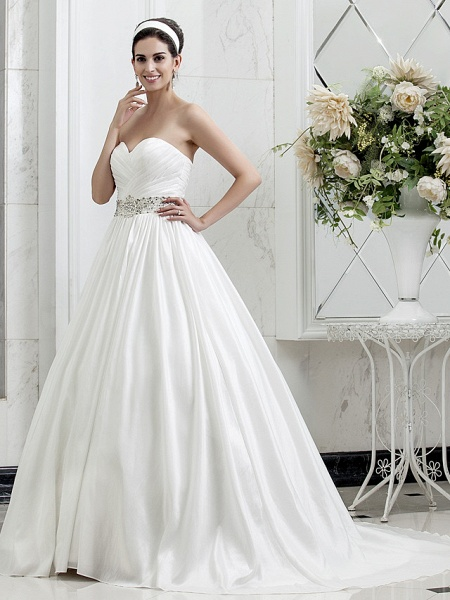 Princess A-Line Wedding Dresses Sweetheart Neckline Court Train Taffeta Sleeveless_3