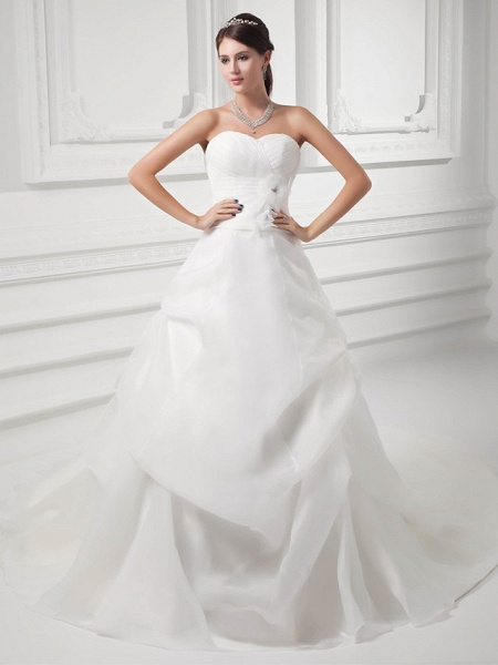 A-Line Sweetheart Neckline Chapel Train Organza Satin Strapless Wedding Dresses_1