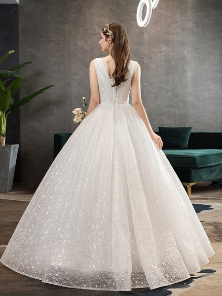 Ball Gown Wedding Dresses V Neck Floor Length Lace Tulle Polyester Sleeveless Romantic Sexy_4