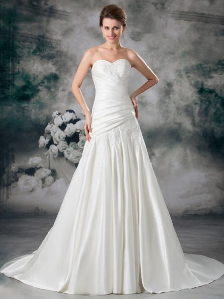 A-Line Sweetheart Neckline Chapel Train Lace Satin Strapless Wedding Dresses_1