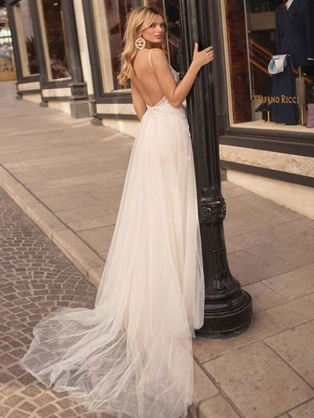A-Line Wedding Dresses V Neck Court Train Lace Tulle Spaghetti Strap Beach Boho See-Through Backless_4