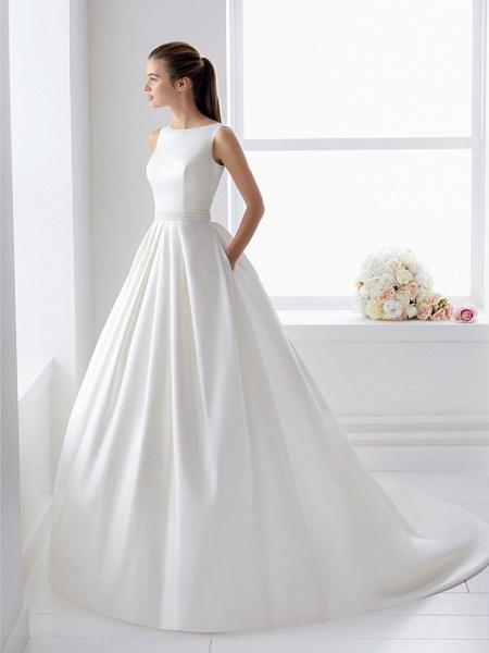 Ball Gown Wedding Dresses Bateau Neck Court Train Lace Polyester Regular Straps Elegant_5