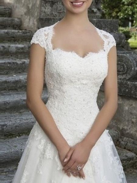 A-Line Wedding Dresses V Neck Floor Length Tulle Regular Straps_3