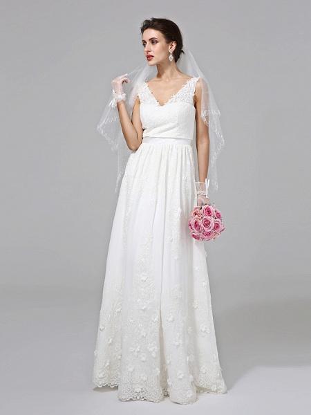 A-Line Wedding Dresses V Neck Floor Length Lace Regular Straps Simple Illusion Detail_5