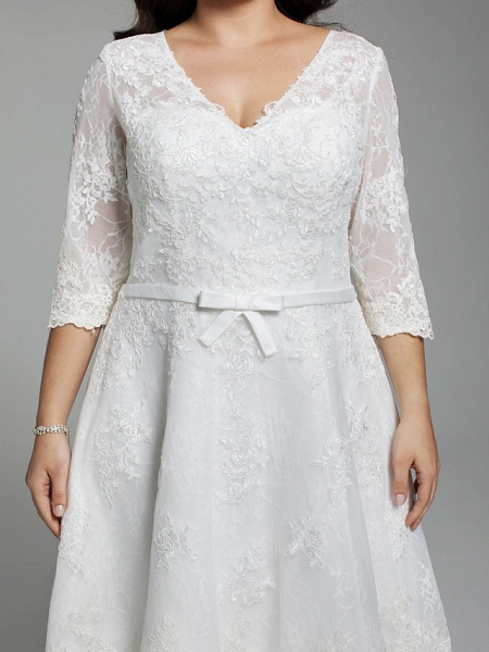 A-Line Wedding Dresses V Neck Knee Length All Over Lace 3\4 Length Sleeve Casual Vintage See-Through Illusion Detail Backless_7