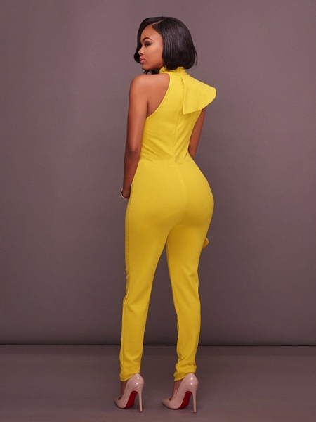 Women's Basic Halter Neck Yellow Royal Blue White Jumpsuit_2