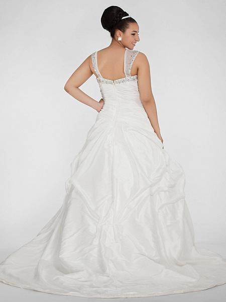 Ball Gown Sweetheart Neckline Chapel Train Taffeta Sleeveless Sparkle & Shine Wedding Dresses_2