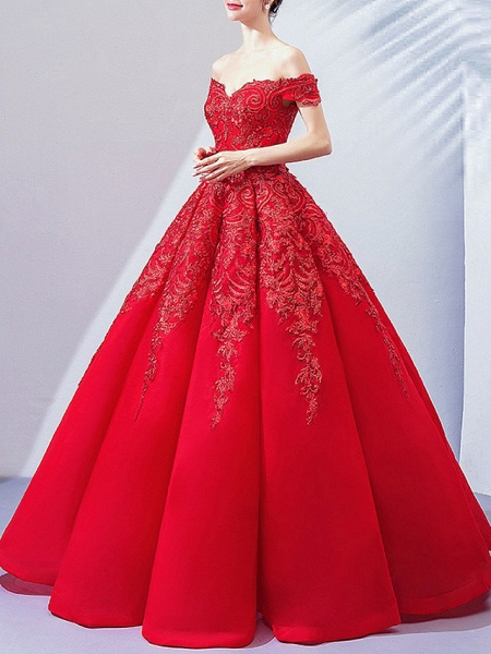 Ball Gown Wedding Dresses Off Shoulder Floor Length Lace Cap Sleeve Romantic Plus Size Red_4