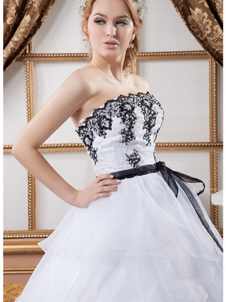 Ball Gown Strapless Court Train Lace Organza Satin Strapless Wedding Dress in Color Wedding Dresses_5