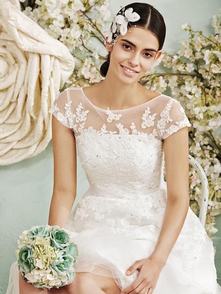 A-Line Wedding Dresses Scoop Neck Tea Length Lace Over Tulle Cap Sleeve Vintage Little White Dress Illusion Detail 1950s_4