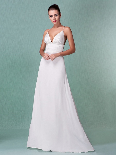 Sheath \ Column Wedding Dresses V Neck Floor Length Chiffon Spaghetti Strap Sexy Backless_7