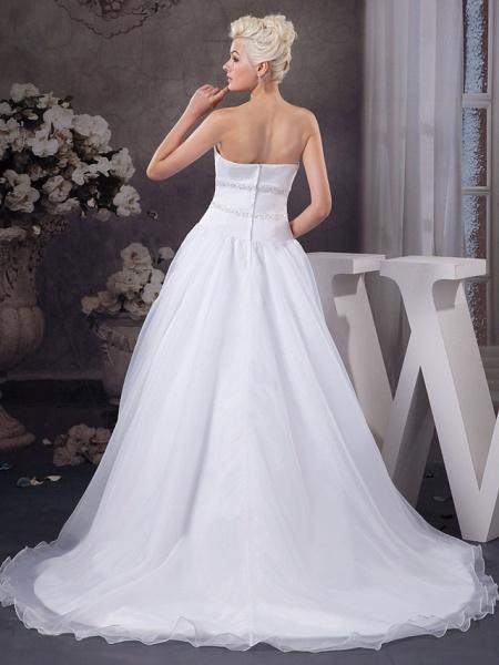 A-Line Sweetheart Neckline Court Train Organza Satin Strapless Wedding Dresses_3