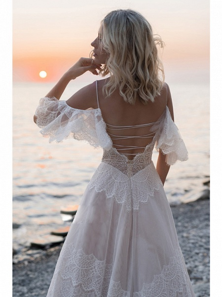 A-Line Wedding Dresses V Neck Sweep \ Brush Train Lace Tulle Short Sleeve Illusion Detail Backless_3