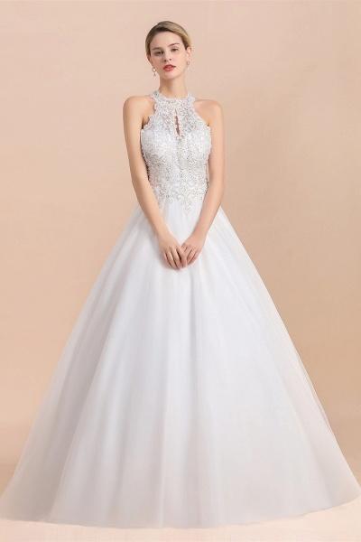 Halter Lace Appliques A-line Sequins Sleeveless Wedding Dress_7