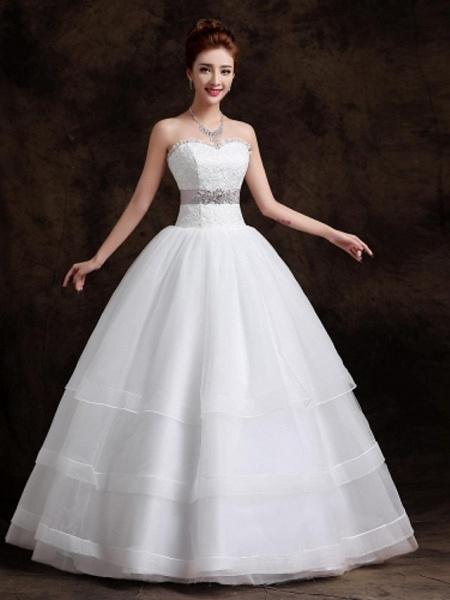 Ball Gown Wedding Dresses Sweetheart Neckline Floor Length Organza Tulle Sleeveless_1