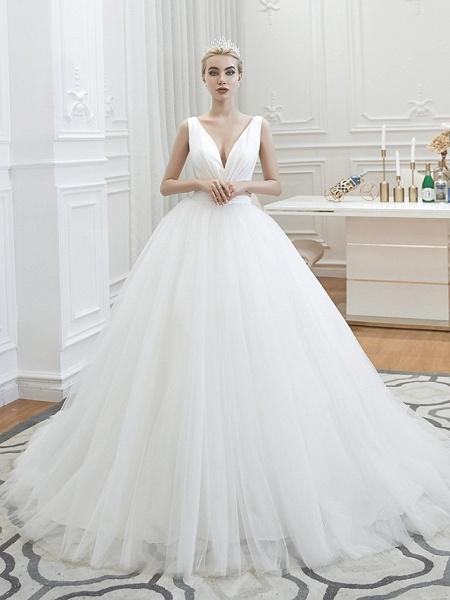A-Line Wedding Dresses V Neck Court Train Tulle Spaghetti Strap Formal Romantic Casual_6