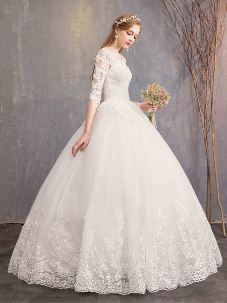 Ball Gown Wedding Dresses Bateau Neck Maxi Lace Tulle Half Sleeve Glamorous Illusion Sleeve_4