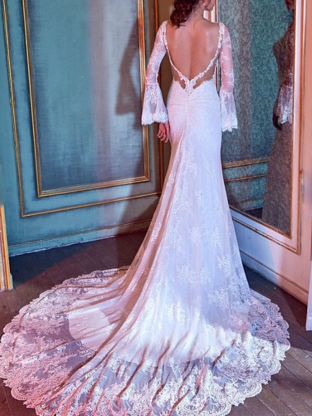 Mermaid \ Trumpet Wedding Dresses V Neck Court Train Lace Tulle Long Sleeve Illusion Sleeve_2