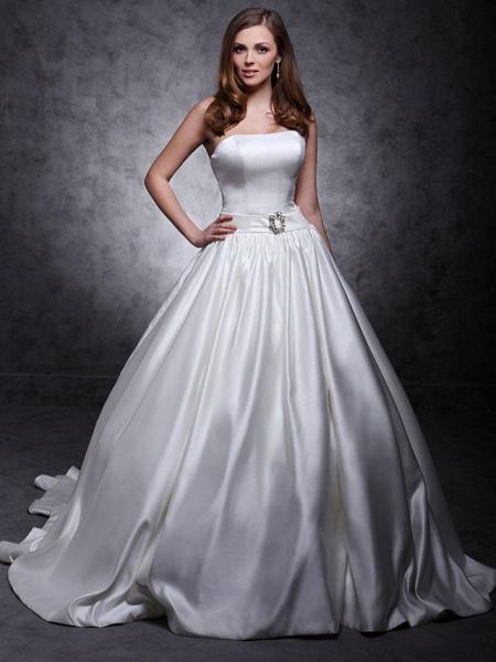 Princess Wedding Dresses Strapless Chapel Train Satin Sleeveless_1