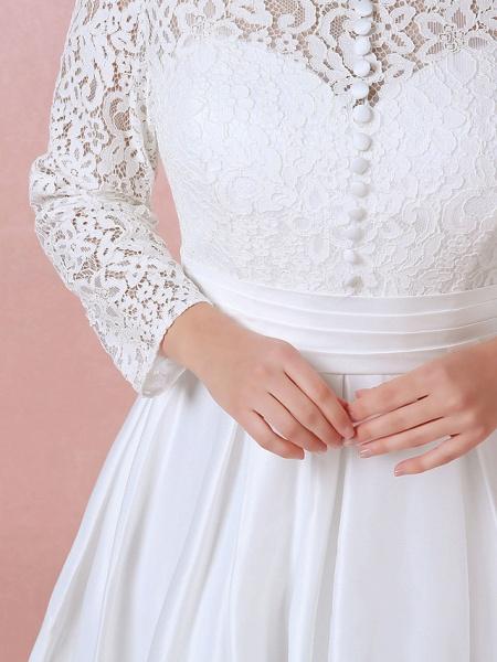 A-Line Wedding Dresses High Neck Floor Length Lace Satin Long Sleeve Formal Simple Plus Size_7