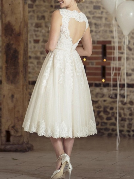 A-Line Wedding Dresses Jewel Neck Tea Length Lace Tulle Sleeveless Vintage Sexy Wedding Dress in Color Backless_3