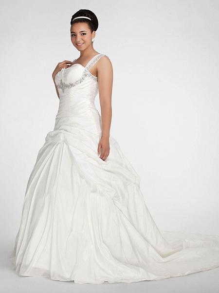 Ball Gown Sweetheart Neckline Chapel Train Taffeta Sleeveless Sparkle & Shine Wedding Dresses_8