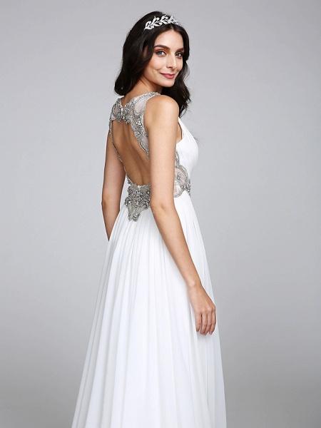 A-Line Wedding Dresses V Neck Sweep \ Brush Train Chiffon Regular Straps Country Romantic Glamorous Sparkle & Shine Plus Size Backless_9