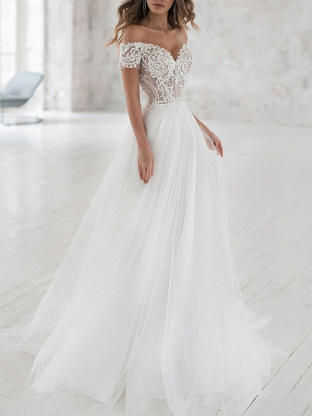 A-Line Wedding Dresses Off Shoulder Sweep \ Brush Train Lace Tulle Short Sleeve Beach Boho Sexy See-Through_1