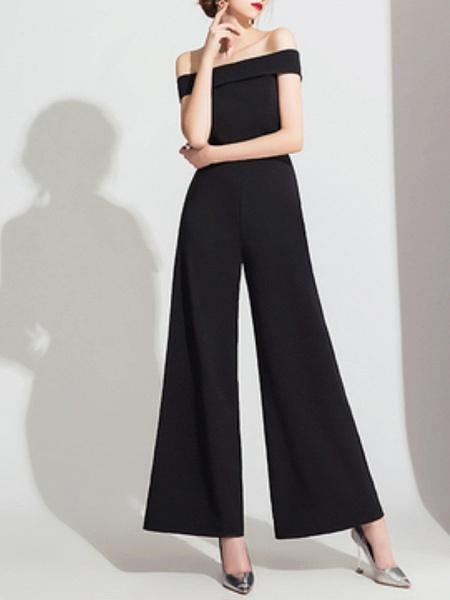 Jumpsuits Wedding Dresses Off Shoulder Floor Length Polyester Cap Sleeve Formal Simple_6