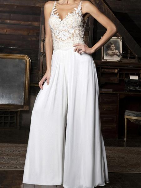 Jumpsuits Wedding Dresses V Neck Floor Length Chiffon Sleeveless Vintage Sexy_1