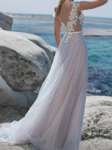 A-Line Wedding Dresses Jewel Neck Sweep \ Brush Train Lace Tulle Short Sleeve Beach Sexy See-Through_2