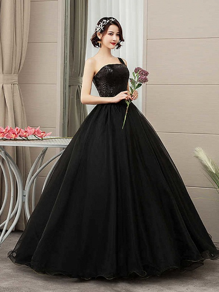 Ball Gown Wedding Dresses One Shoulder Floor Length Tulle Sequined Spaghetti Strap Black_2