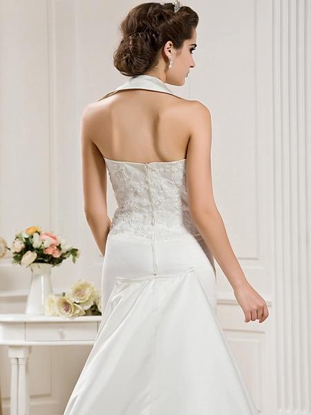 Mermaid \ Trumpet Halter Neck Court Train Satin Sleeveless Wedding Dresses_6