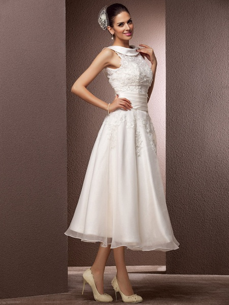 A-Line Wedding Dresses Bateau Neck Tea Length Organza Floral Lace Regular Straps Formal Casual Illusion Detail_2