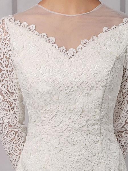 Sheath \ Column Wedding Dresses Jewel Neck Knee Length Lace Tulle Long Sleeve Vintage 1950s_4