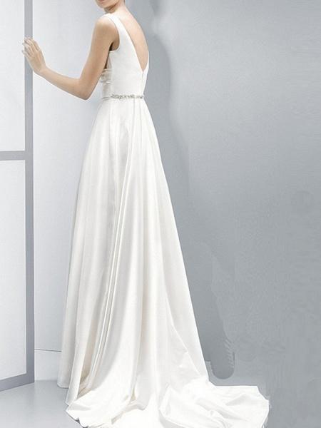 Sheath \ Column Wedding Dresses V Neck Sweep \ Brush Train Chiffon Sleeveless Beach_2