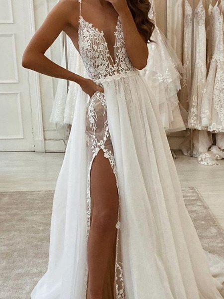 Two Piece A-Line Wedding Dresses V Neck Spaghetti Strap Sweep \ Brush Train Tulle Polyester Sleeveless Country Plus Size_2