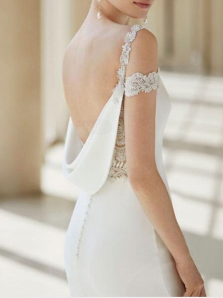 A-Line Wedding Dresses V Neck Court Train Chiffon Lace Regular Straps Formal Plus Size_2