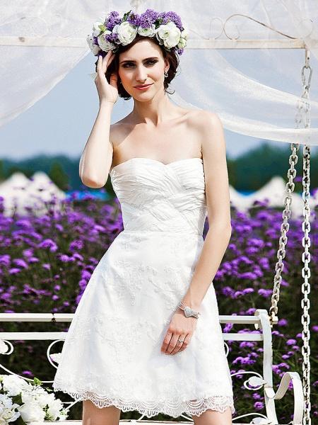 Princess A-Line Wedding Dresses Strapless Short \ Mini Chiffon Lace Sleeveless Little White Dress_2
