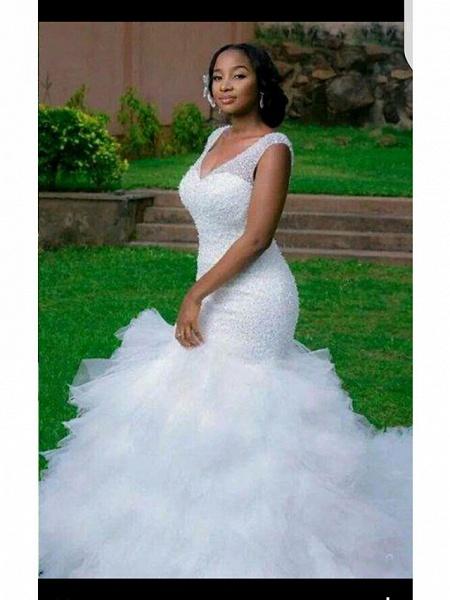 Mermaid \ Trumpet V Neck Court Train Tulle Regular Straps Country Backless Wedding Dresses_3