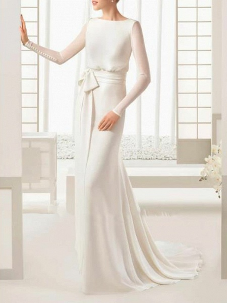 Sheath \ Column Wedding Dresses Bateau Neck Sweep \ Brush Train Floor Length Satin Tulle Long Sleeve Simple Elegant_1