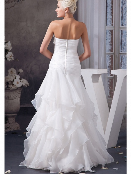 A-Line Sweetheart Neckline Floor Length Lace Organza Satin Strapless Wedding Dresses_3