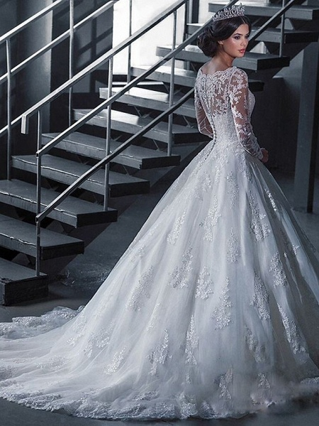 A-Line Wedding Dresses Off Shoulder Court Train Lace Tulle Long Sleeve Formal Sexy Illusion Sleeve_2