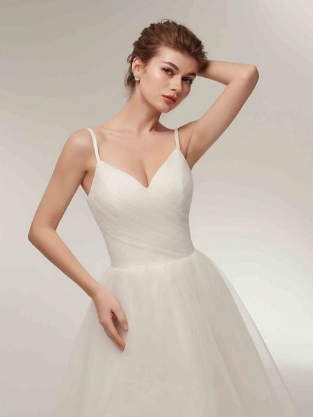 A-Line Wedding Dresses V Neck Asymmetrical Tulle Spaghetti Strap Simple Casual Little White Dress_7