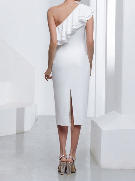 Sheath \ Column Wedding Dresses One Shoulder Tea Length Stretch Satin Sleeveless Country Plus Size_2