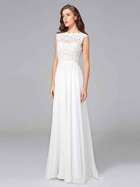 Sheath \ Column Wedding Dresses Bateau Neck Sweep \ Brush Train Chiffon Floral Lace Cap Sleeve Romantic Illusion Detail Backless_5