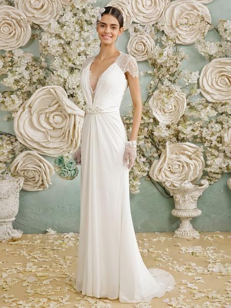 Sheath \ Column Wedding Dresses V Neck Sweep \ Brush Train Chiffon Sheer Lace Short Sleeve Casual Vintage See-Through Plus Size Backless_4