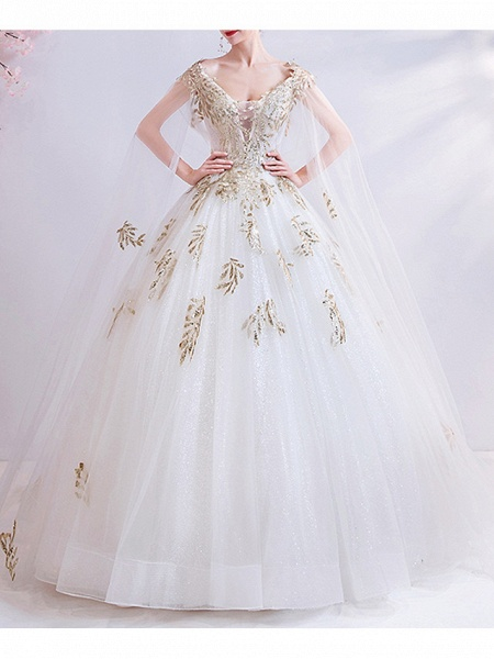 Ball Gown Wedding Dresses V Neck Court Train Chiffon Tulle Cap Sleeve Formal Illusion Detail Plus Size_1
