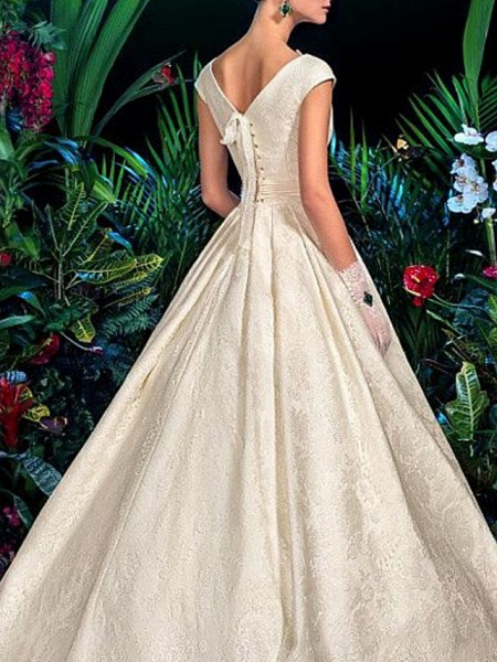 A-Line V Wire Sweep \ Brush Train Lace Satin Short Sleeve Formal Vintage Sexy Wedding Dresses_2